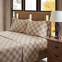 True North by Sleep Philosophy Inverness Angle Flannel California King Sheet Set in Tan