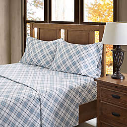 True North by Sleep Philosophy Inverness Angle Flannel King Sheet Set in Blue