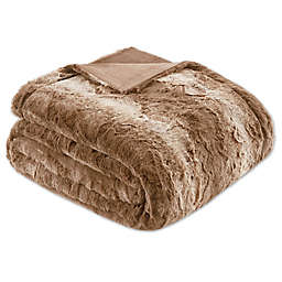 Madison Park Zuri Faux Fur Oversized Bed Throw Blanket in Tan