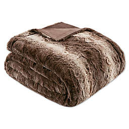 Madison Park Zuri Faux Fur Oversized Bed Throw Blanket in Chocolate