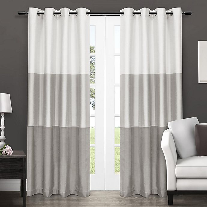 Alternate image 1 for Chateau 96-Inch Grommet Top Window Curtain Panel Pair in Dove Grey