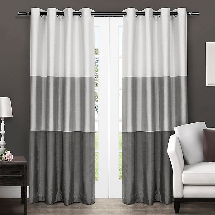 Alternate image 1 for Chateau 96-Inch Grommet Top Window Curtain Panel Pair in Black Pearl