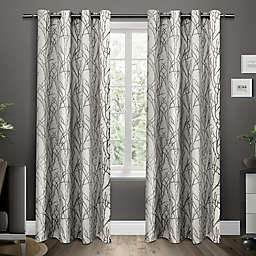 Exclusive Home Branches 2-Pack 96-Inch Grommet Window Curtain Panels in Black Pearl