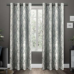 Exclusive Home Branches 2-Pack 96-Inch Grommet Window Curtain Panels in Teal