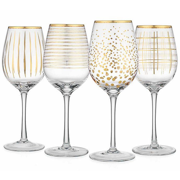 9d0182d2531 Home Essentials & Beyond Cellini Assorted Wine Glasses in Gold (Set of 4)