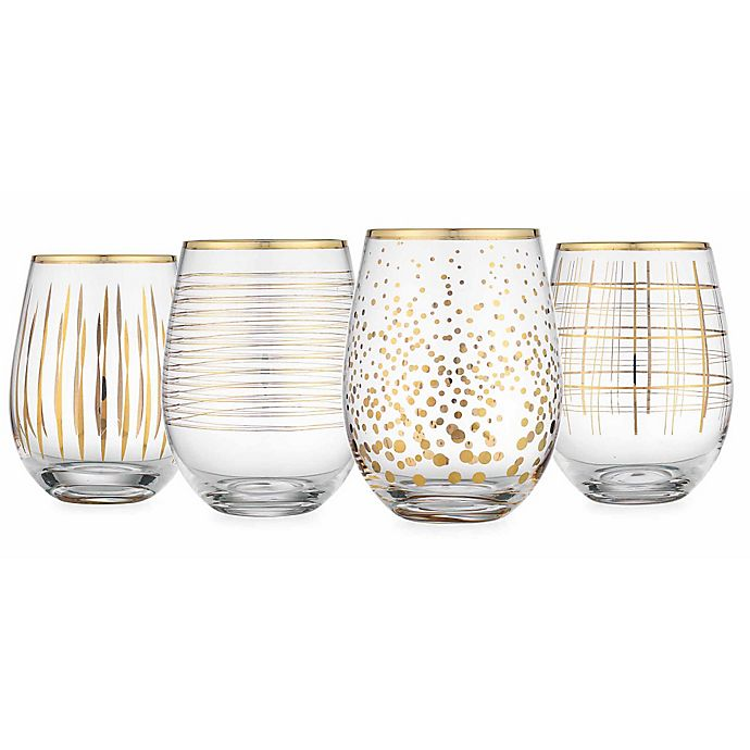 8217816186a Home Essentials & Beyond Cellini Assorted Stemless Wine Glasses in Gold  (Set of 4)