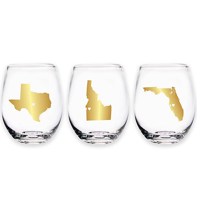 Alternate image 1 for Home Essentials & Beyond Map Stemless Wine Glass