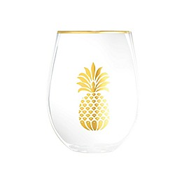 Home Essentials & Beyond Pineapple Stemless Glasses (Set of 2)