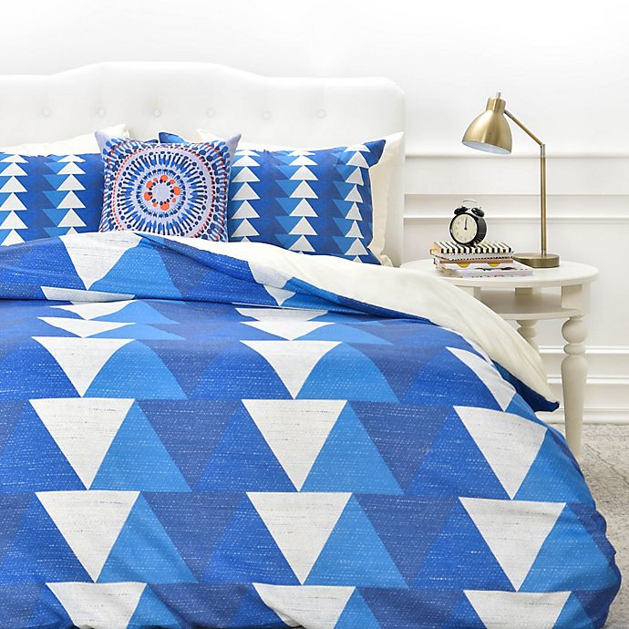 Alternate image 1 for Deny Designs Zoe Wodarz Indigo Triangle Duvet Cover