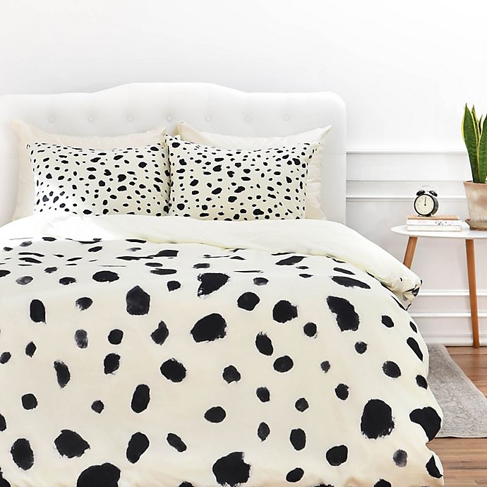 Alternate image 1 for Deny Designs Rebecca Allen Miss Monroes Dalmatian Duvet Cover in Black/White