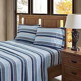 True North by Sleep Philosophy Fair Isle Flannel Sheet Set in Blue