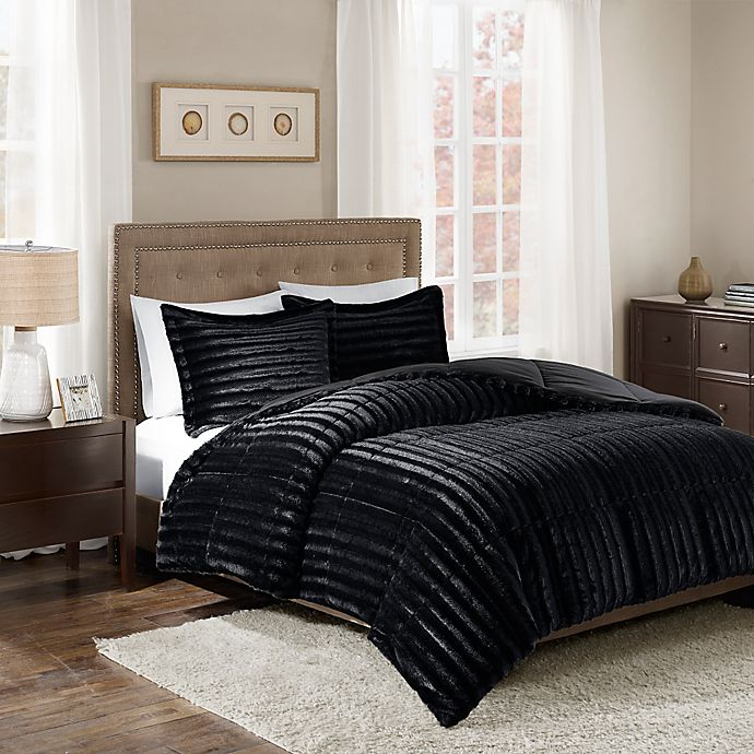 Alternate image 1 for Madison Park Duke Faux Fur King/California King Comforter Set in Black