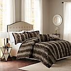 Madison Park Zuri Fur King/California King Comforter Set in Chocolate