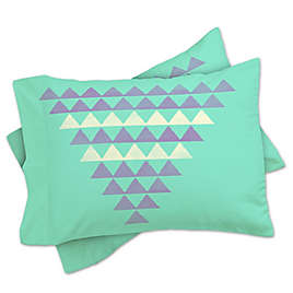 20 x 20 Deny Designs Allyson Johnson Minty Triangles Outdoor Throw Pillow