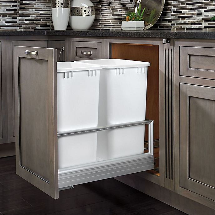 Alternate image 1 for Rev-A-Shelf 5149-18DM-211 Double 35 qt. Brushed Aluminum/White Waste Container w/Rev-A-Motion