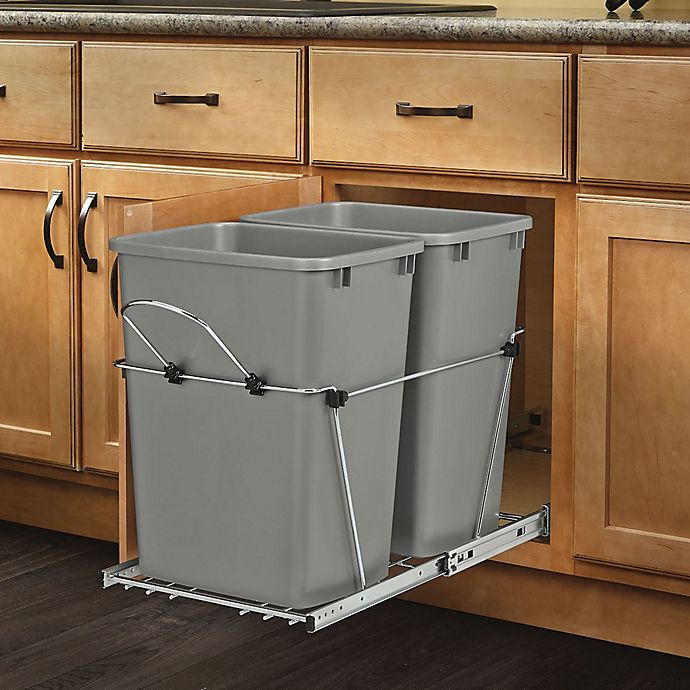 Rev A Shelf Double Pull Out Waste Containers In Metallic Silver