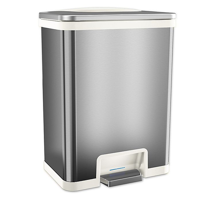 Alternate image 1 for halo™ TapCan Effortless Stainless Steel 49-Liter Trash Can in White