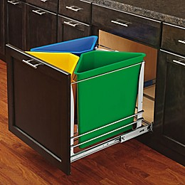 Rev-A-Shelf - 5BBSC-WMDM24-C - Multi-Color Three Bin Recycling Center with Soft-Close Slides