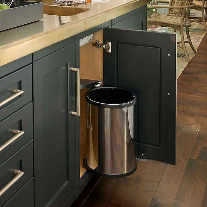 Alternate image 1 for Rev-A-Shelf - 8-010314-15 - 14-Liter Stainless Pivot-Out Under Sink Waste Container
