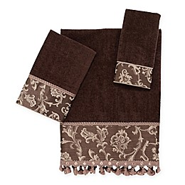 Avanti Damask Fringe Bath Towel Collection in Mocha