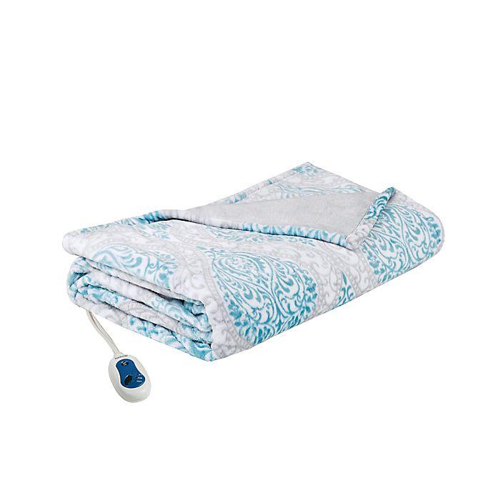Alternate image 1 for Beautyrest® Heated Senna Throw Blanket in Aqua