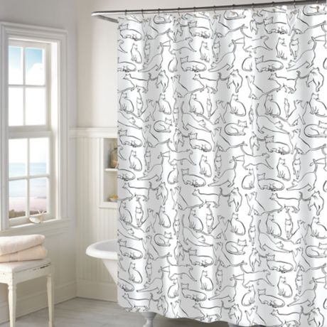 Cats Shower Curtain In White Bed Bath