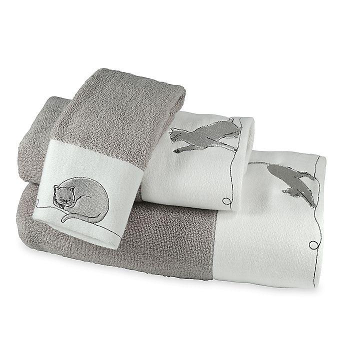 Alternate image 1 for Cats Fingertip Towel in White