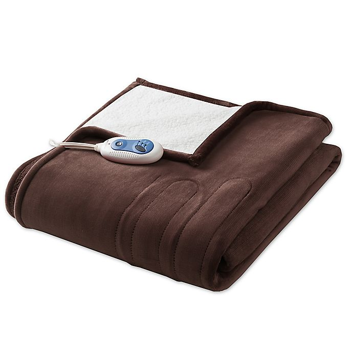 Alternate image 1 for Woolrich Plush Berber Heated Throw in Chocolate