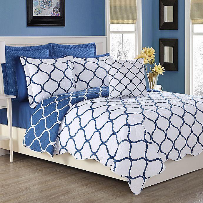 Alternate image 1 for Fiesta® Villa Reversible King Quilt Set in Lapis