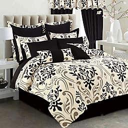 Tribeca Living Prague 12-Piece Comforter Set in Black/Taupe