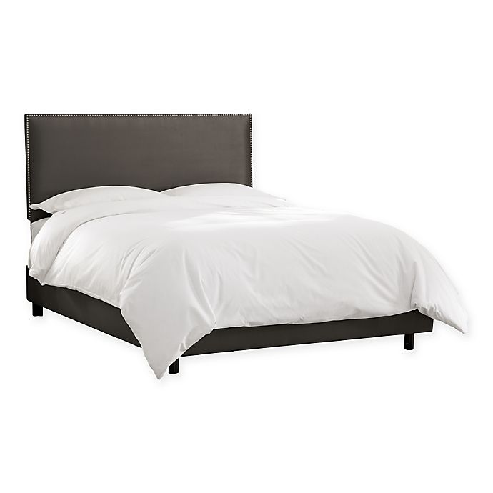 Alternate image 1 for Skyline Furniture Groveton Full Nail Button Border Bed in Charcoal