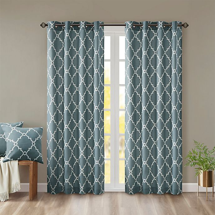 Alternate image 1 for Madison Park Saratoga 95-Inch Grommet Top Window Curtain Panel in Blue