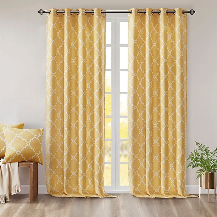 Alternate image 1 for Madison Park Saratoga 63-Inch Grommet Top Window Curtain Panel in Yellow
