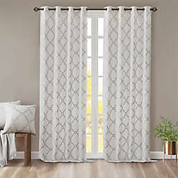 Madison Park Saratoga 84-Inch Grommet Top Window Curtain Panel in Ivory/Silver (Single)