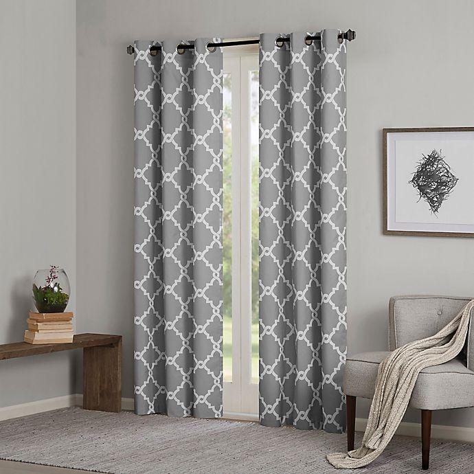 Alternate image 1 for Madison Park Essentials Merritt 84-Inch Printed Fret Grommet Window Curtain Panel Pair in Grey