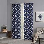 Madison Park Essentials Merritt 84-Inch Printed Fret Grommet Window Curtain Panel Pair in Indigo