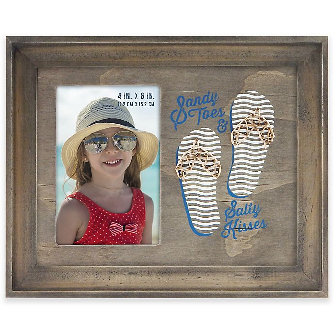 Alternate image 1 for Flip Flop Sandy Toes 4-Inch x 6-Inch Picture Frame in Grey