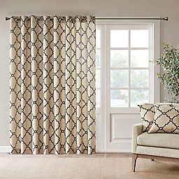 Madison Park Saratoga 84-Inch Grommet Top Patio Door Window Curtain Panel in Khaki/Black