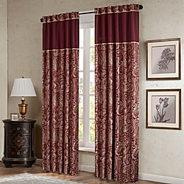 Madison Park Aubrey 84-Inch Window Curtain Panel Pair in Burgundy
