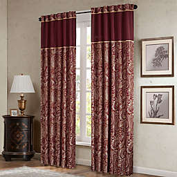 Madison Park Aubrey 84-Inch Window Curtain Panel Pair in Burgundy