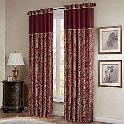 Madison Park Aubrey 84-Inch Window Curtain Panels  in Burgundy (Set of 2)