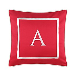 Monogram 17-Inch Outdoor Pillow in Salsa