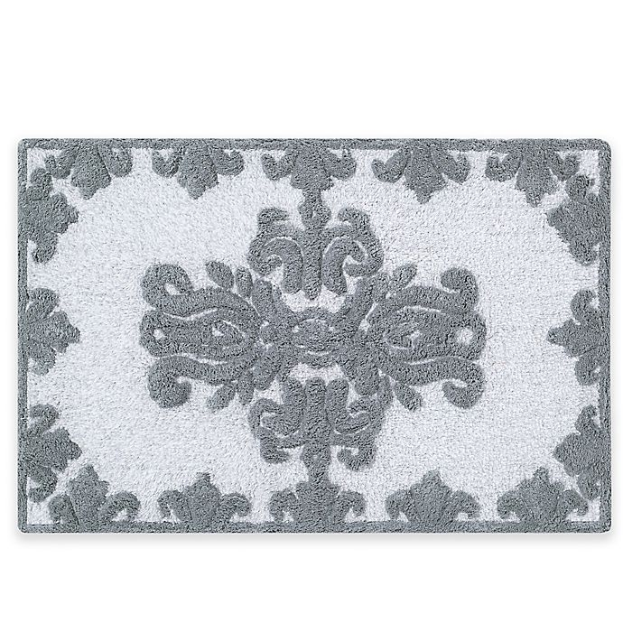 Alternate image 1 for J. Queen New York™ Colette 30-Inch x 20-Inch Bath Rug in Silver