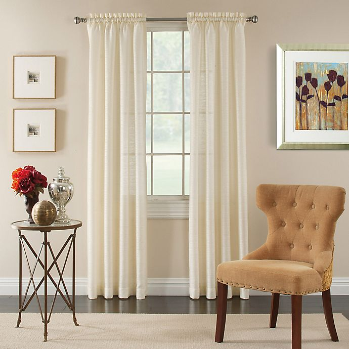 Alternate image 1 for Pippa 84-Inch Rod Pocket Semi-Sheer Window Curtain Panel in Ivory
