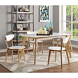 Forest Gate Lisa Mid-Century Modern 5-Piece Wood Dining Set in White/Natural