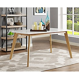 Forest Gate Lisa Mid-Century Modern Dining Table in White/Natural