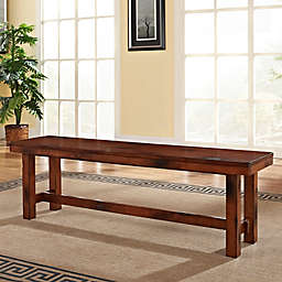 Forest Gate Athena Farmhouse Wood Dining Bench in Dark Oak