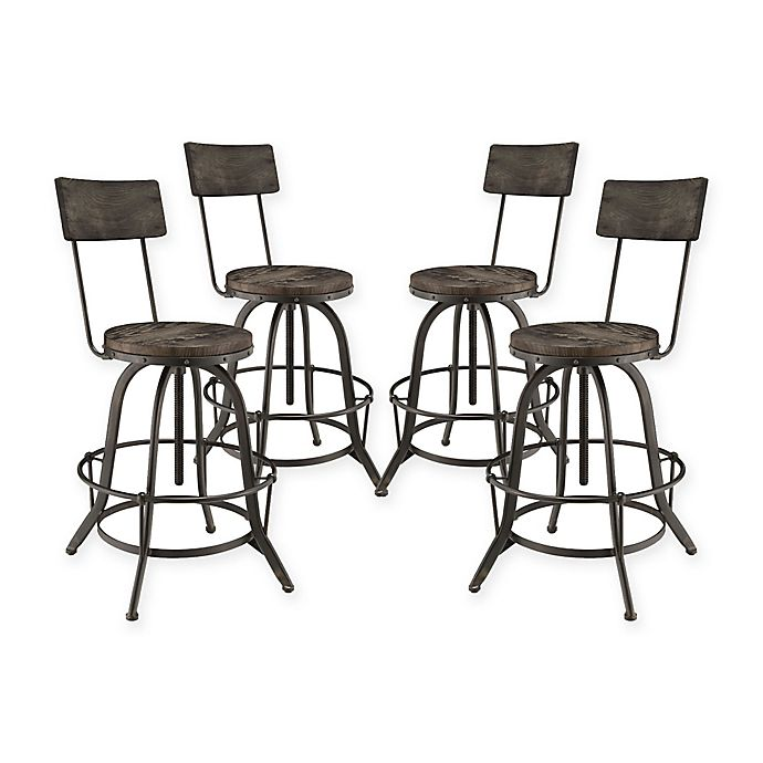 Alternate image 1 for Modway Procure Bar Stool in Black (Set of 4)