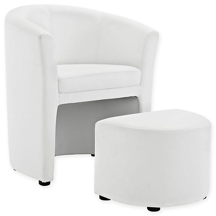 Alternate image 1 for Modway Divulge Arm Chair and Ottoman Set in White