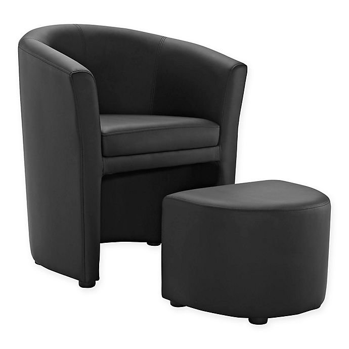 Alternate image 1 for Modway Divulge Arm Chair and Ottoman Set in Black